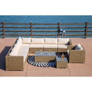 Kensal 10 Piece Rattan Sectional Seating Group with Cushions