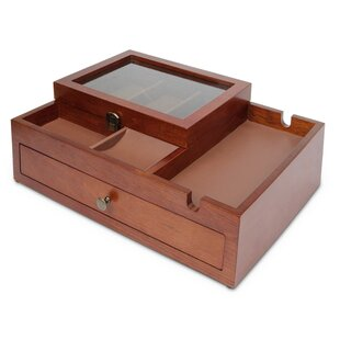 Mirror Inside Gold Painted Wood Jewelry Photo Pocket on Lid Wood Box Three Compartments