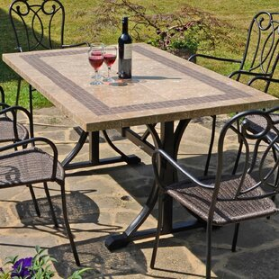 Shayna Marble Stone/Steel Dining Table By Sol 72 Outdoor