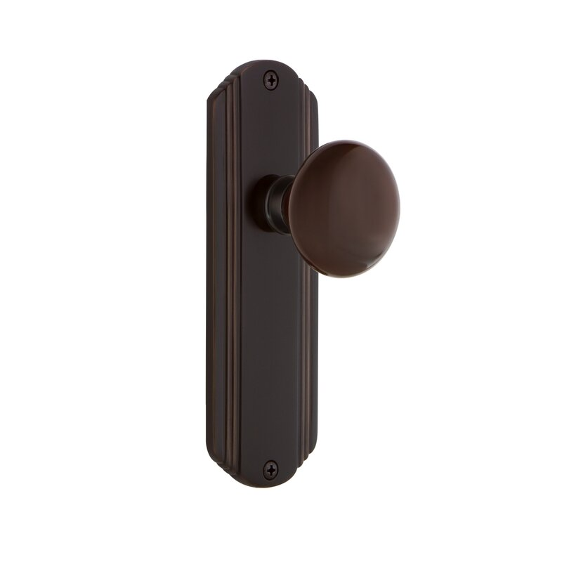 Nostalgic Warehouse Brown Porcelain Single Dummy Door Knob With Deco Long Plate Wayfair