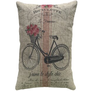 Enoch French Bike Striped Linen Throw Pillow