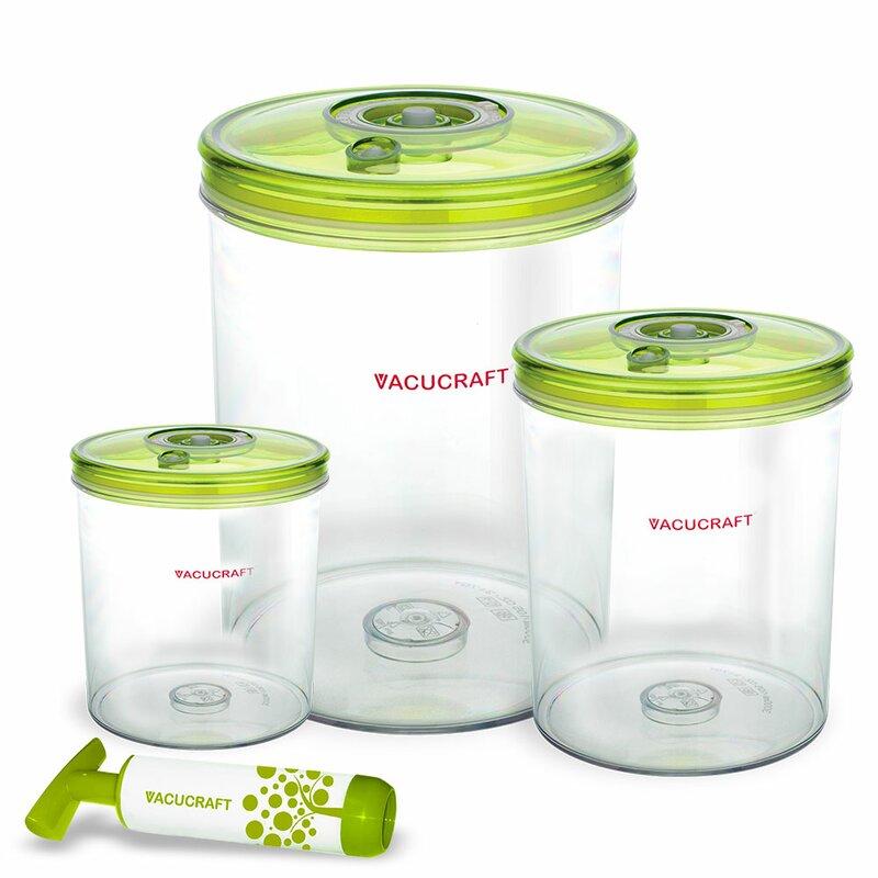 Vacuum Cylinder 3 Container Food Storage Set