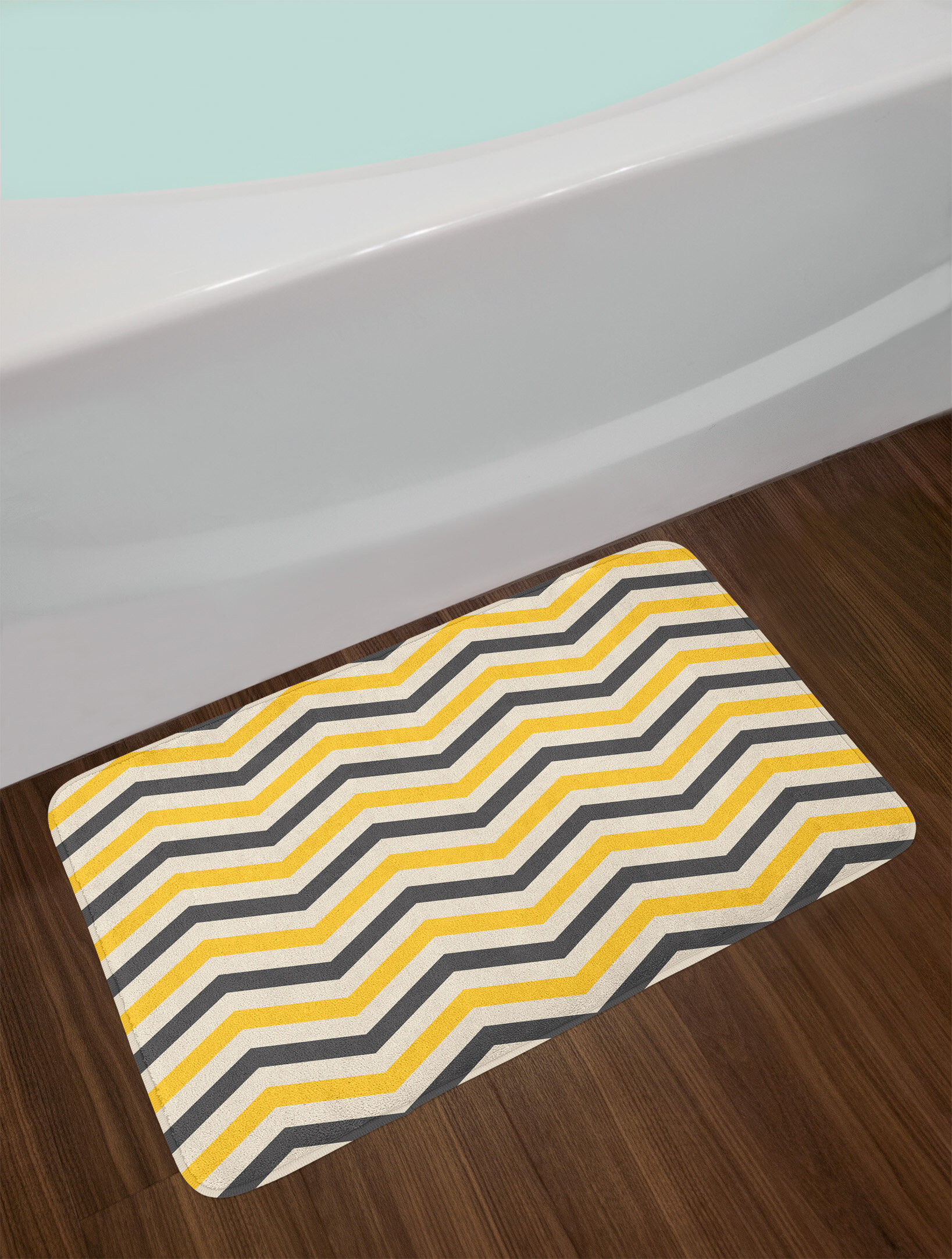 Large Charcoal Gray Yellow Cream Chevron Bath Rug