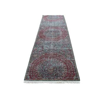 Isabelline One Of A Kind Ballenger Hand Knotted 2010s Modern Blue 2 5 X 6 1 Runner Area Rug Wayfair