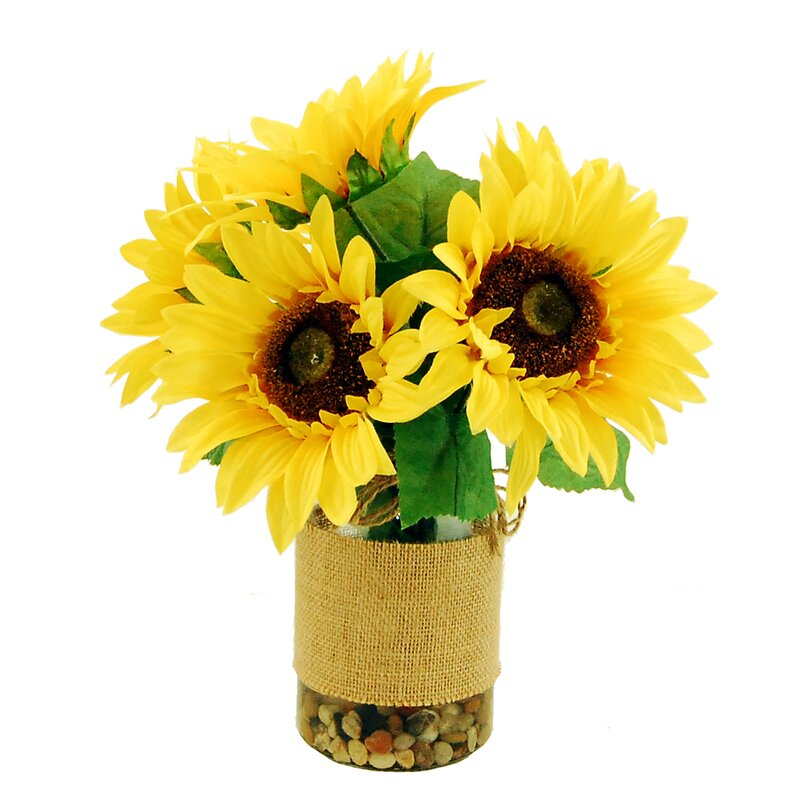 August Grove Sunflowers In A Vase With River Rocks And