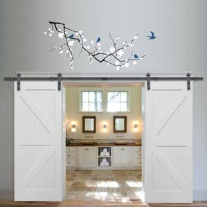 Double Stile And Rail K Planked MDF 4 Panel Interior Barn Door With Hardware