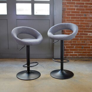 Classic Fabric Adjustable Height Swivel Bar Stool (Set of 2)