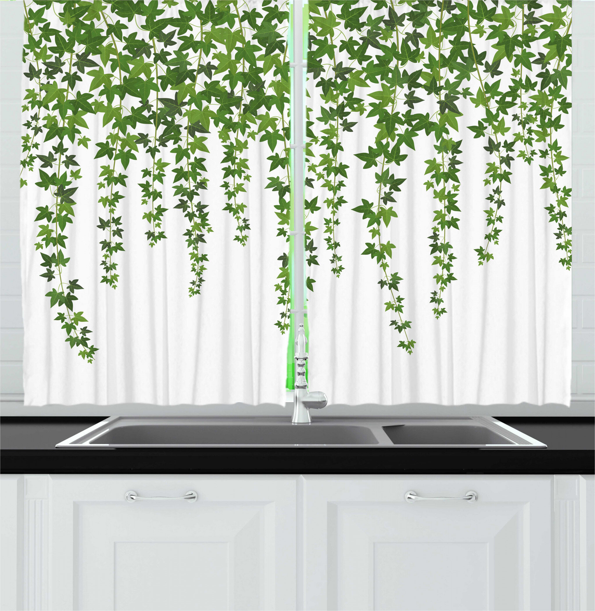 East Urban Home Vines Garden Theme Plant Grape Leaves Ivy Illustration Kitchen Curtain Wayfair
