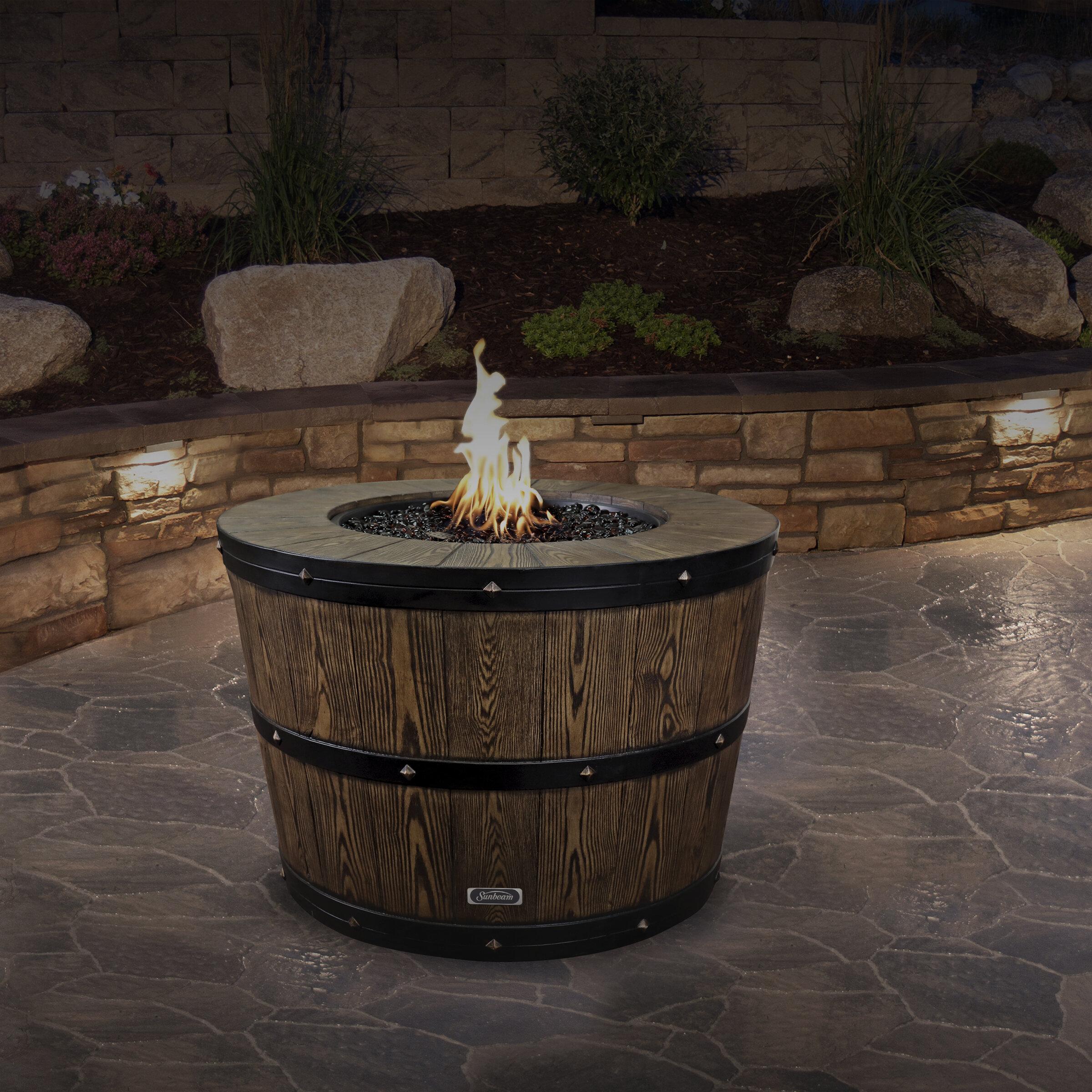 Sunbeam Wine Barrel Concrete Propane Natural Gas Fire Pit Reviews Wayfair