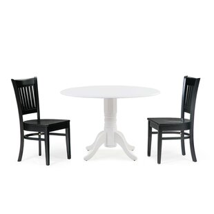 Reidy 3 Piece Drop Leaf Solid Wood Dining Set Charlton Home