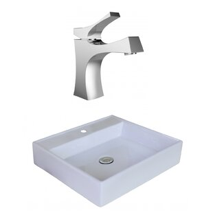 Purchase Ceramic Square Vessel Bathroom Sink with Faucet and Overflow By American Imaginations