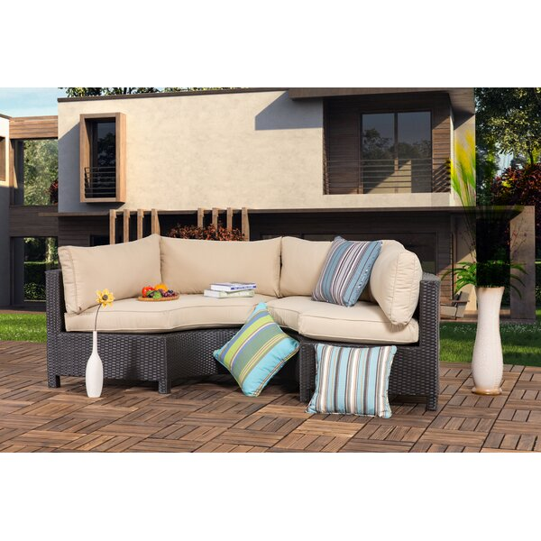 Zaina Outdoor 2 Pieces Curved Sofa Seating Group with Cushions