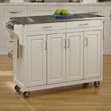 Regiene Kitchen Island with Stainless Steel Top by August Grove®