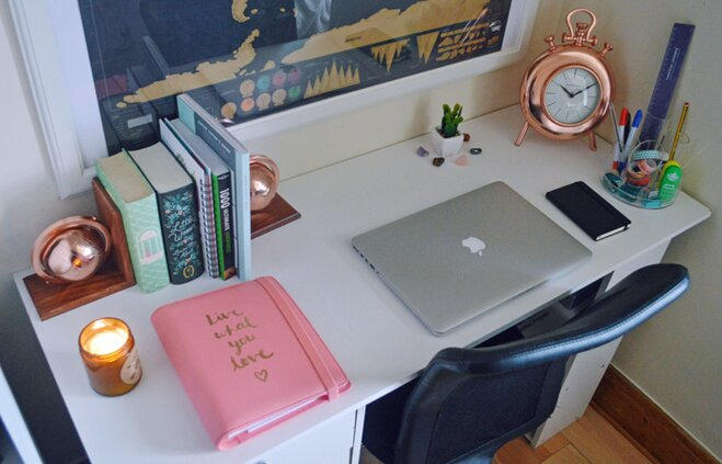 A desk makeover with copper clock, globe bookends, candle and hurricane lamp