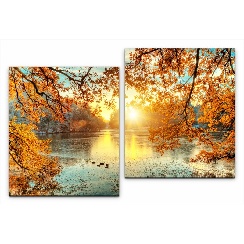 East Urban Home Stunning Colourful Trees 2 Piece Photographic Art Print Set On Wrapped Canvas Wayfair Co Uk