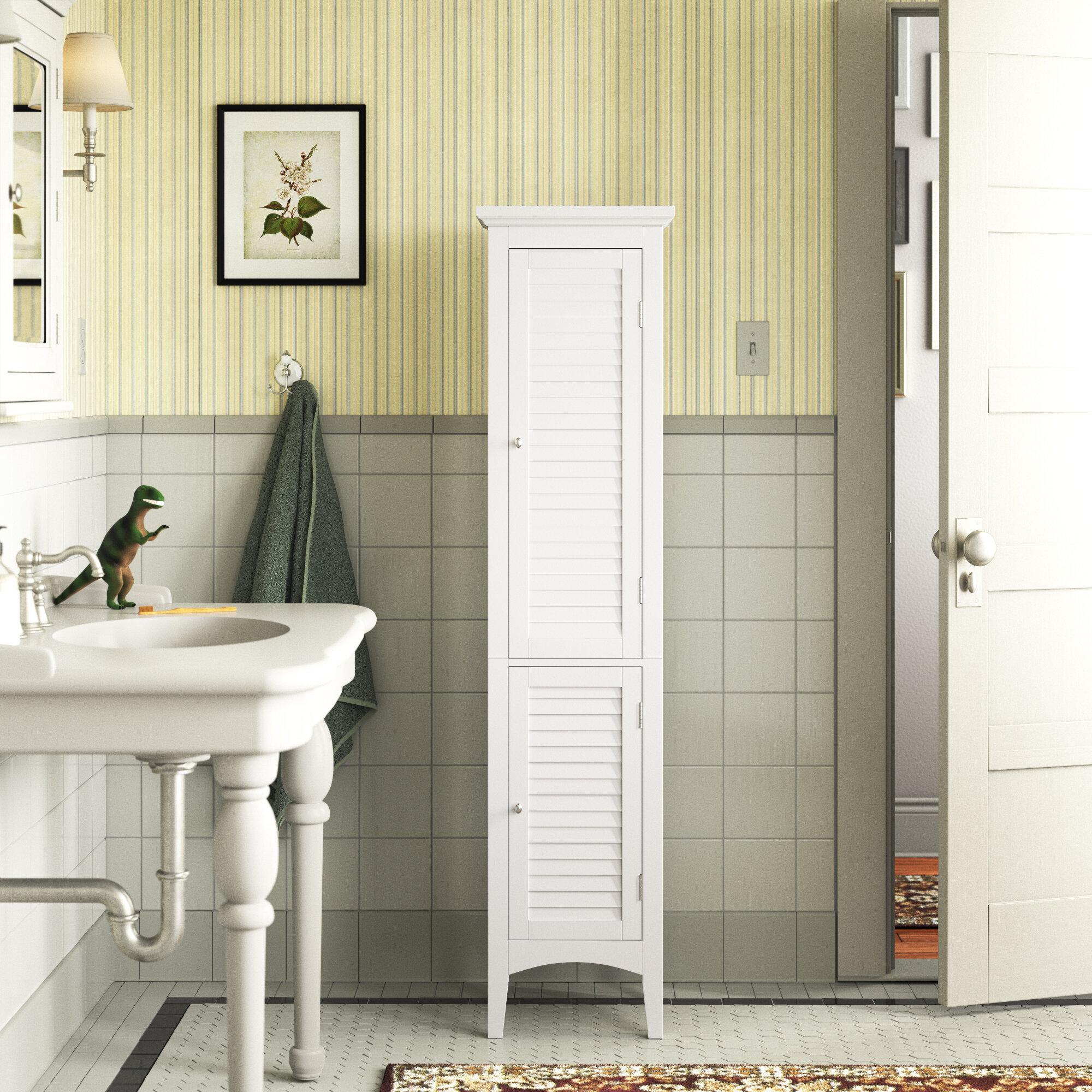 Large Linen Tower Cabinet Espresso 3 Adjustable Shelves Swing Door Bath Storage