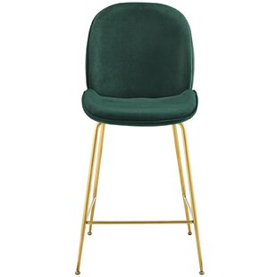 Jaynes Stainless Steel Leg Performance Velvet 25.5 Bar Stool Mercer41