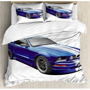 East Urban Home American Auto Racing Car Sports Competition Speed Winner Graphic Duvet Set