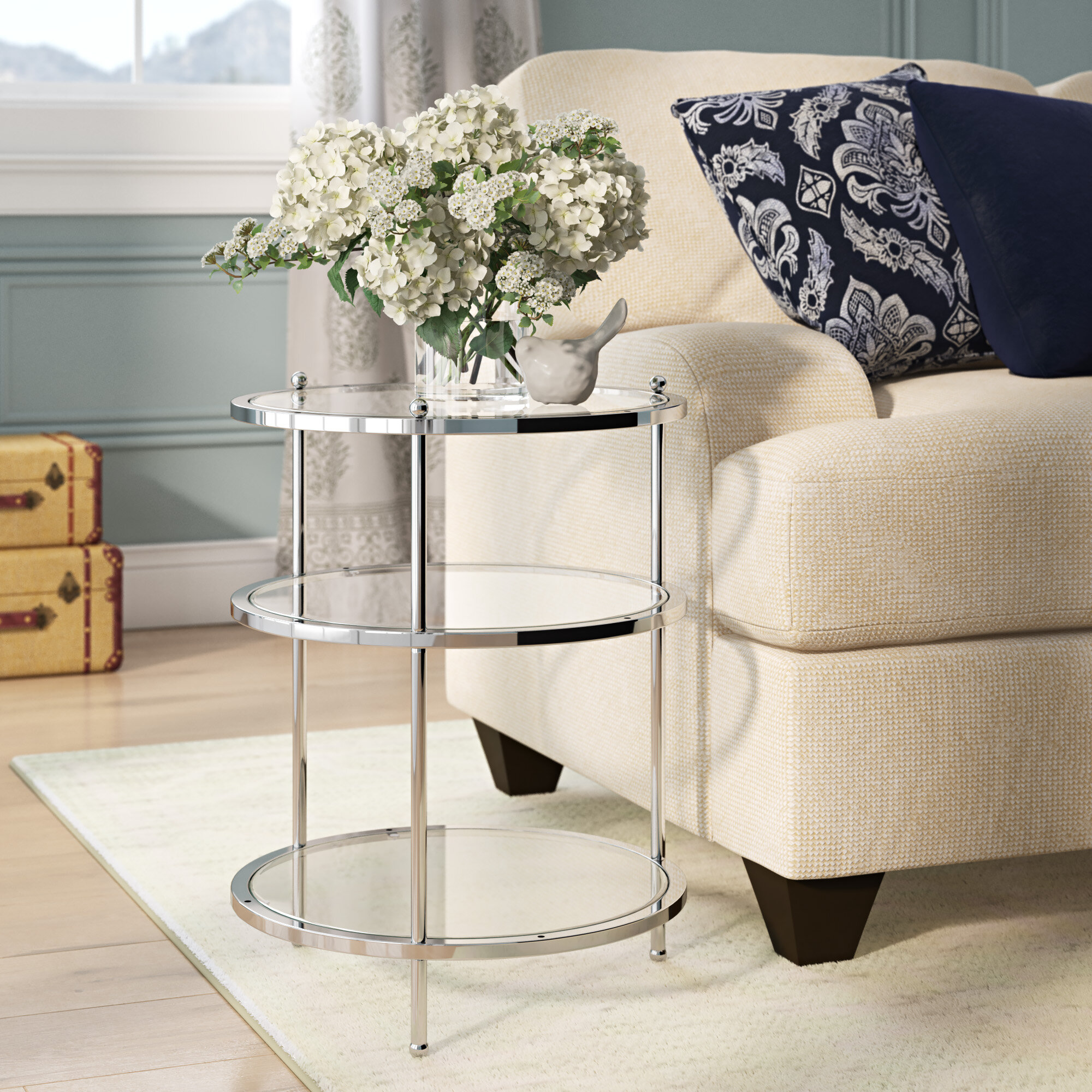 Willa Arlo Interiors Cathleen Glass Top 3 Legs End Table With Storage Reviews Wayfair
