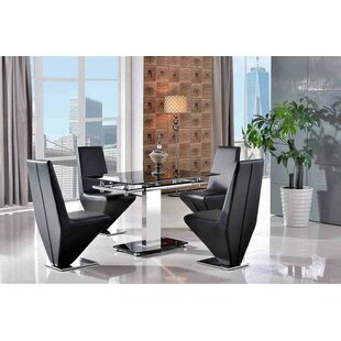 Chipping Sodbury Steel Glass Dining Set With 6 Rita Chairs By Metro Lane