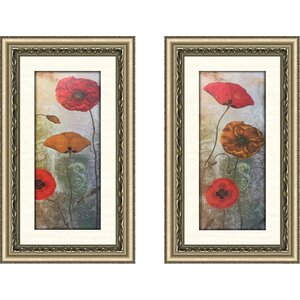 'Golden Poppies I' 2 Piece Framed Acrylic Painting Print Set