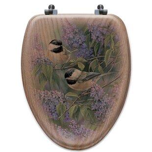 WGI-GALLERY Chickadees and Lilac Oak Elongated Toilet Seat