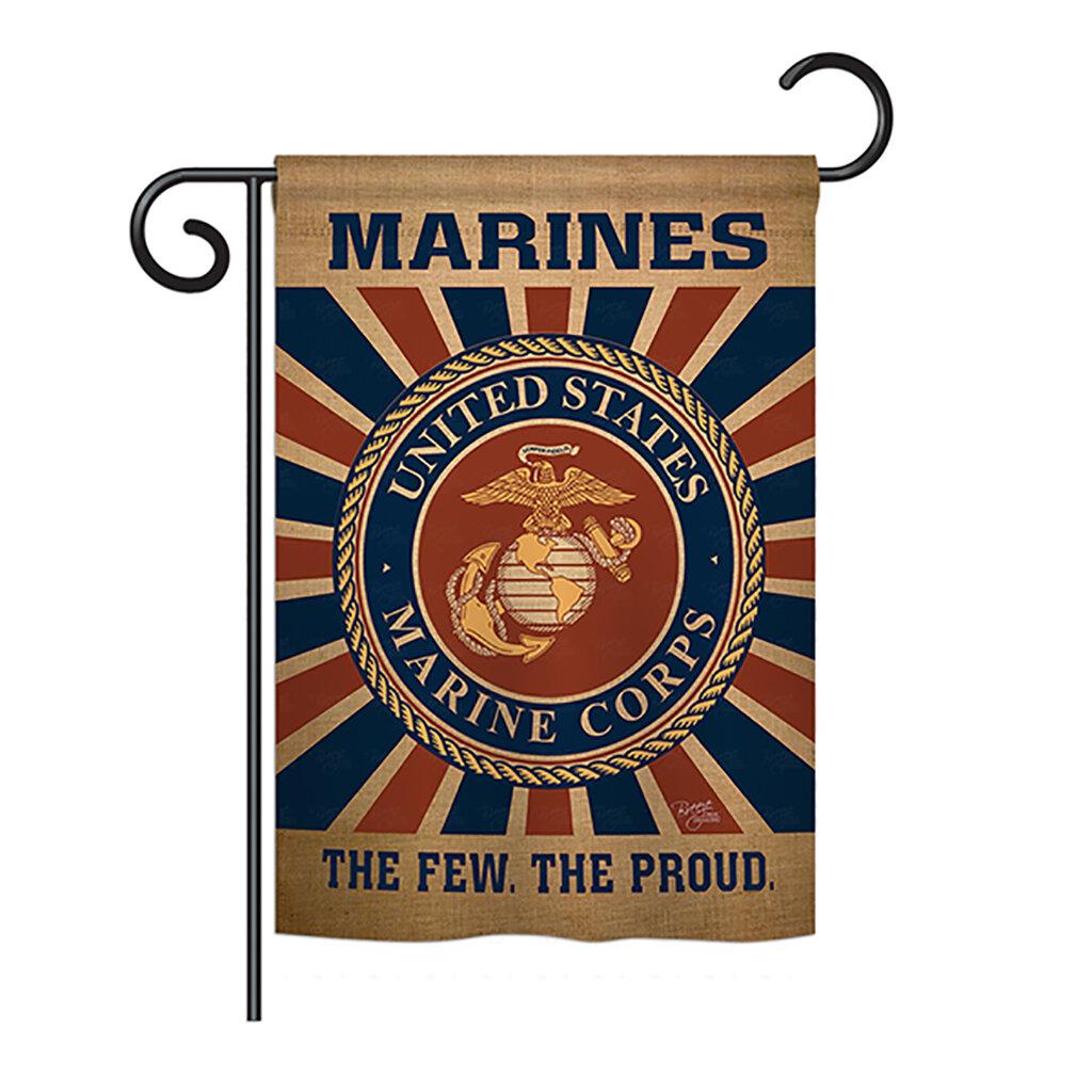 Breeze Decor Marine Corps Americana Everyday Military Impressions 2 Sided Burlap 19 X 13 In Garden Flag Wayfair