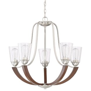Chryses Brushed Nickel 5 Light Shaded Chandelier