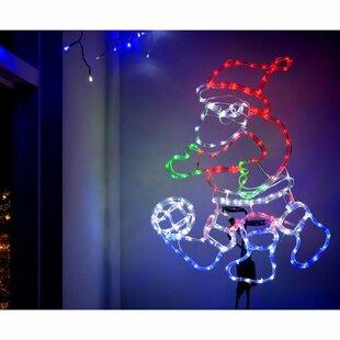 Animated Santa Play Football Rope Lighted Display By The Seasonal Aisle