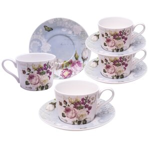 Grace's Tea Ware Botanical Blue Bird Porcelain Coffee Cup and Saucer Set of 4 (Set of 4)