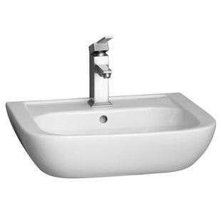 Price comparison Caroline 450 Vitreous China 18 Wall Mount Bathroom Sink with Overflow By Barclay