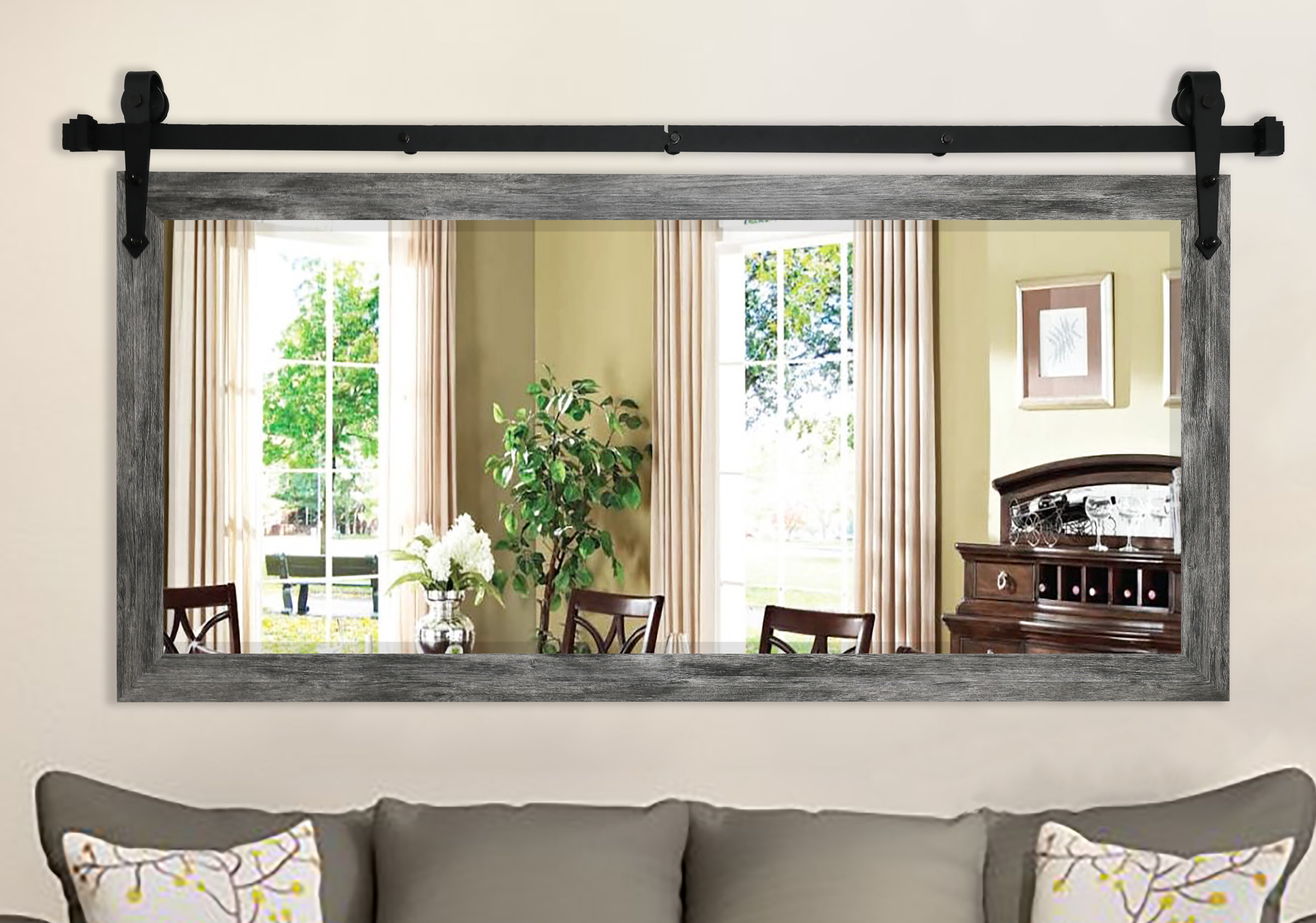 Laurel Foundry Modern Farmhouse 2 Piece Abraham Barnwood Wall Accent Mirror Set Reviews Wayfair