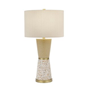 Gilson Contemporary Faux Wood and Terrazzo Hourglass 30 Table Lamp