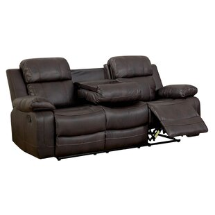 Red Barrel Studio Helfrich Contemporary Sofa Leather Manual Wall Hugger Recliner