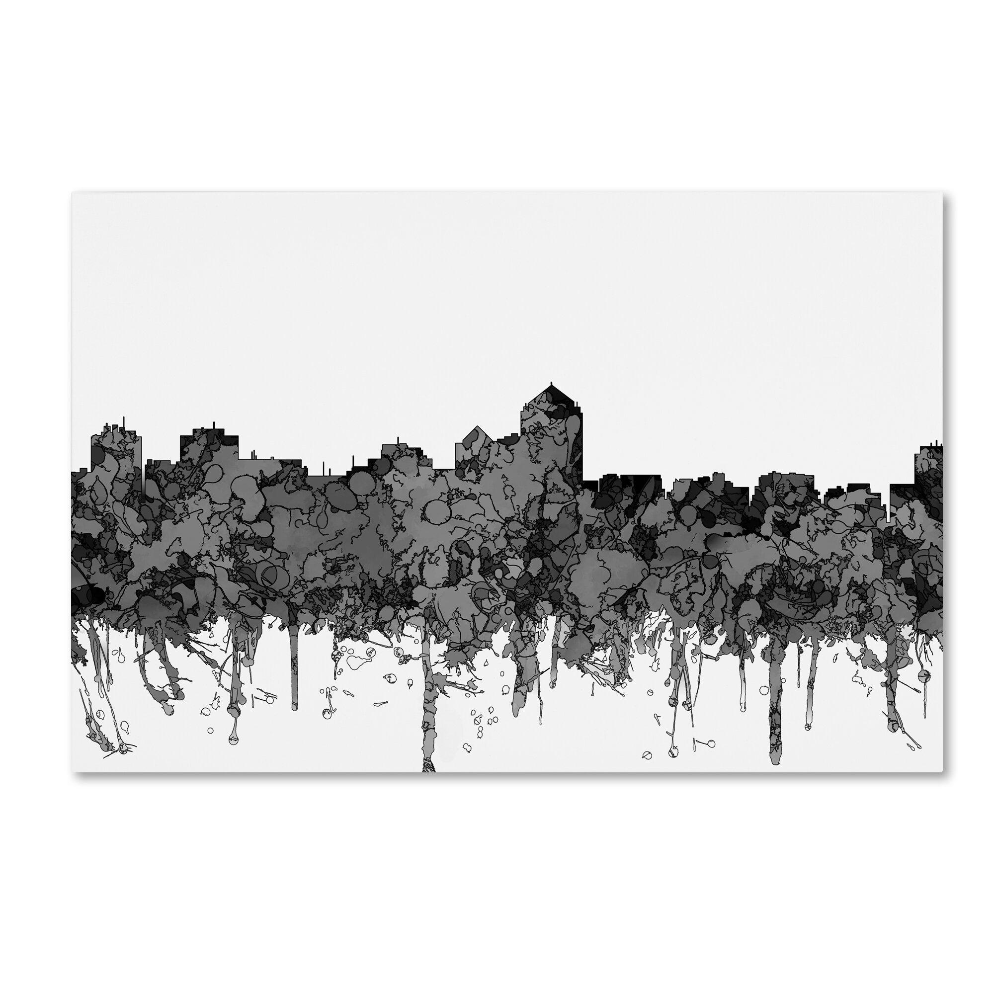 Trademark Art Albuquerque New Mexico Skyline Graphic Art Print On Wrapped Canvas Wayfair