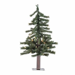 natural alpine green artificial christmas tree with clear lights - Rustic Artificial Christmas Tree
