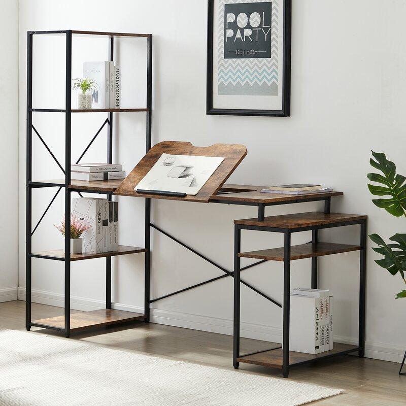 17 Stories Home Office Computer Desk With 5 Tier Bookshelf And 2 Open Storage Shelf Wayfair Ca