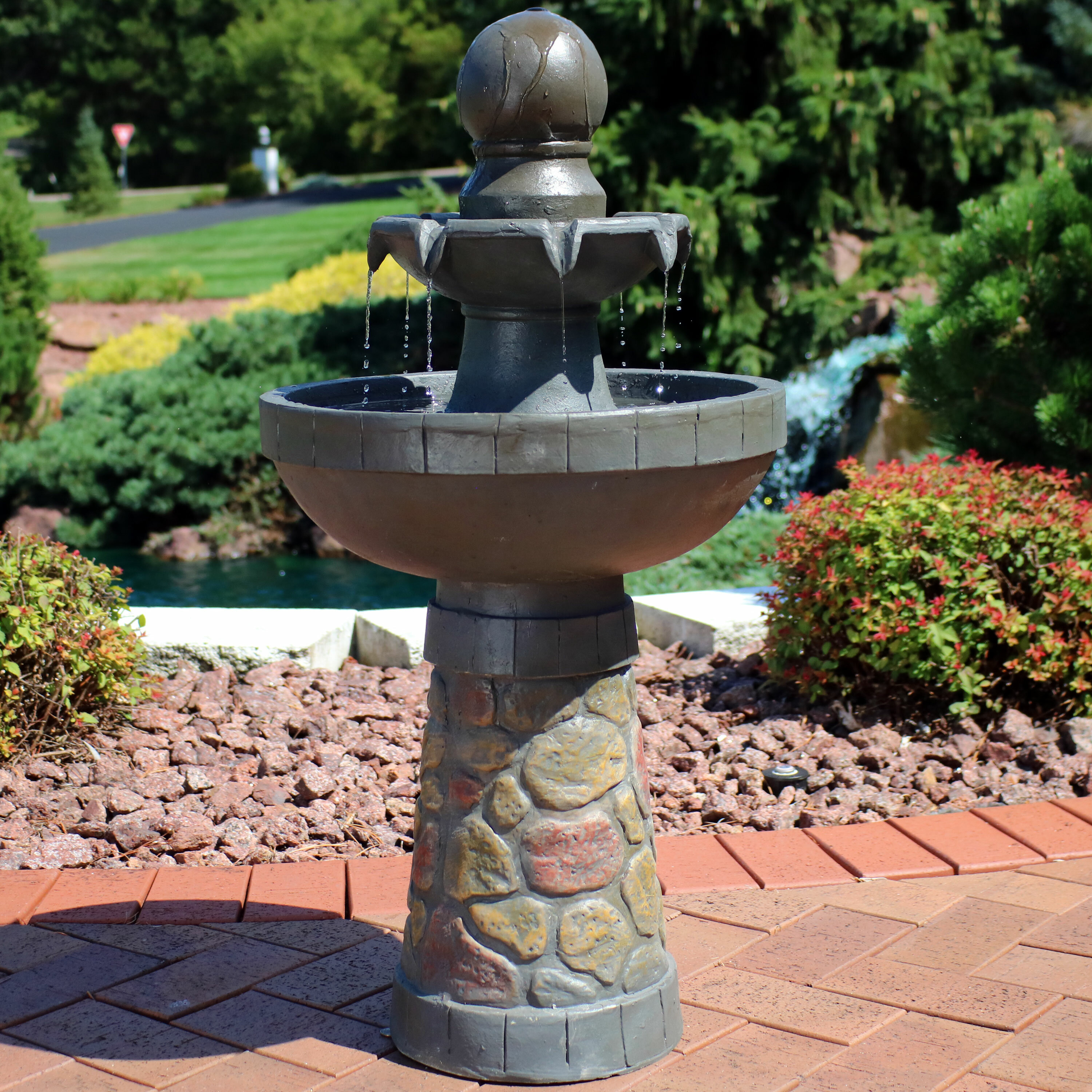 Resin Outdoor Water Fountain With Light
