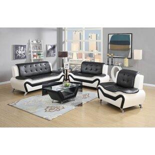 Aurelia 4 Piece Leather Standard Living Room Set (Set of 4) by Orren Ellis