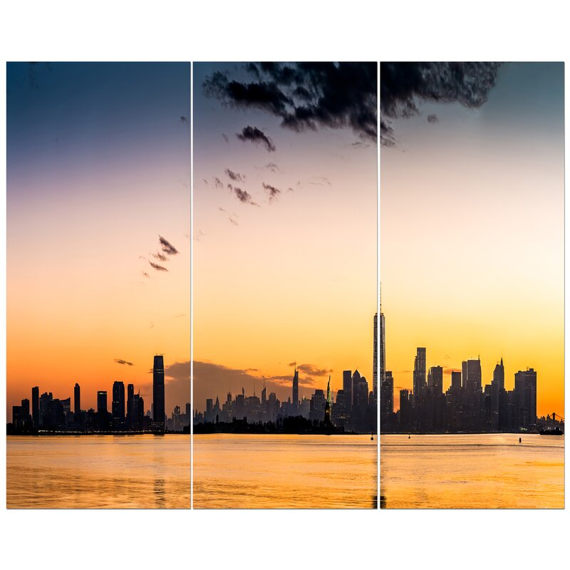 East Urban Home New York And Jersey City Sunset Panorama Photographic Print Multi Piece Image On Wrapped Canvas Wayfair