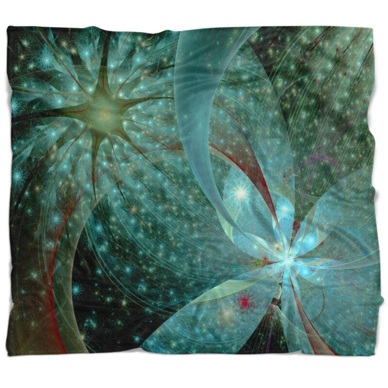 East Urban Home Floral Symmetrical Fractal Blanket Wayfair