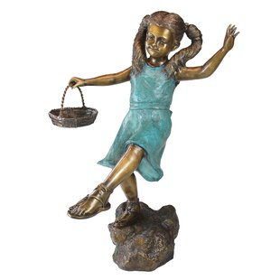 Design Toscano Brittany with a Basket Little Girl Cast Garden Statue