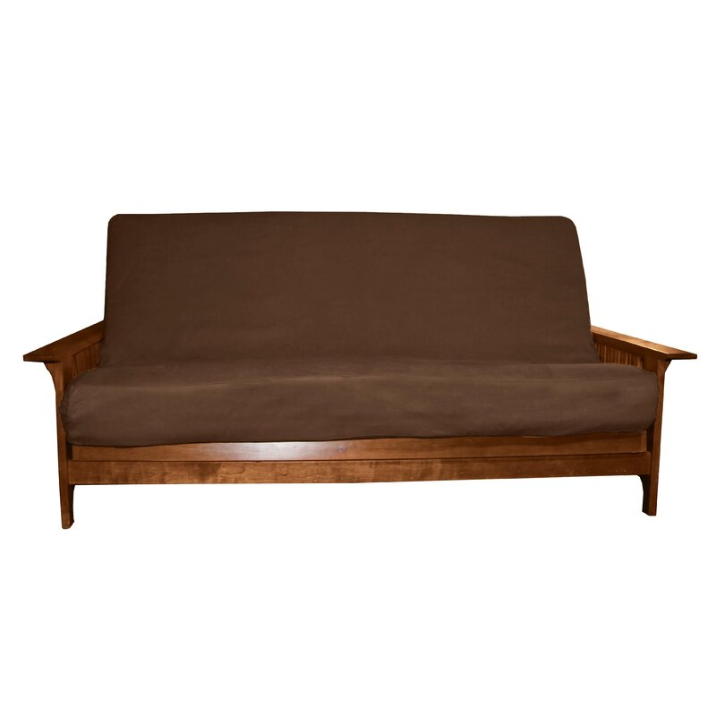 "Box Cushion Futon Slipcover Futon Mattress Thickness: 8"" - 10"", Size: Queen, Upholstery: Suede Chocolate Brown"