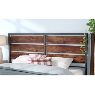 Abril Metal and Wood Plank Queen Slat Headboard by Union Rustic