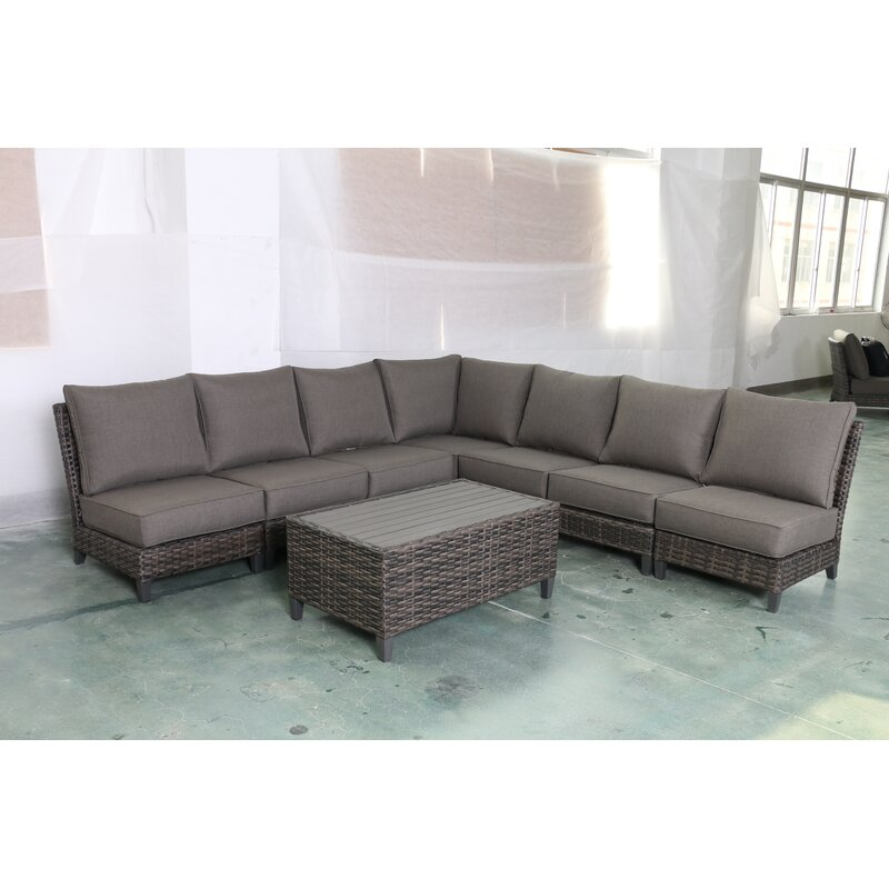 Bayou Breeze Rebeca 8 Piece Rattan Sectional Seating Group With Cushions Wayfair