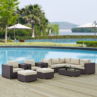 Latitude Run Ryele 10 Piece Rattan Sectional Set with Cushions