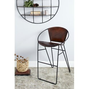Ledford Leather 24 Bar Stool by 17 Stories