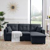 Allwein 86.6 Wide Linen Reversible Sleeper Sofa & Chaise by Ebern Designs