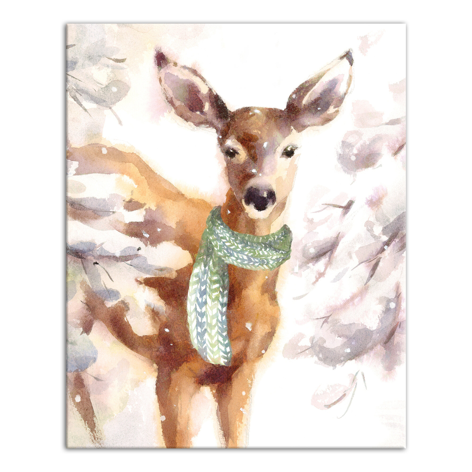 Fawn Wearing A Green Scarf Graphic Art Print On Canvas Reviews Birch Lane