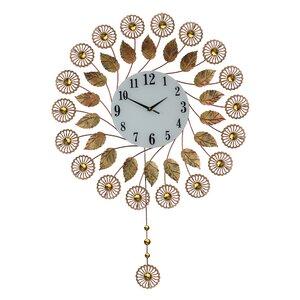Elegant Autumn Flower Pendulum Wall Clock